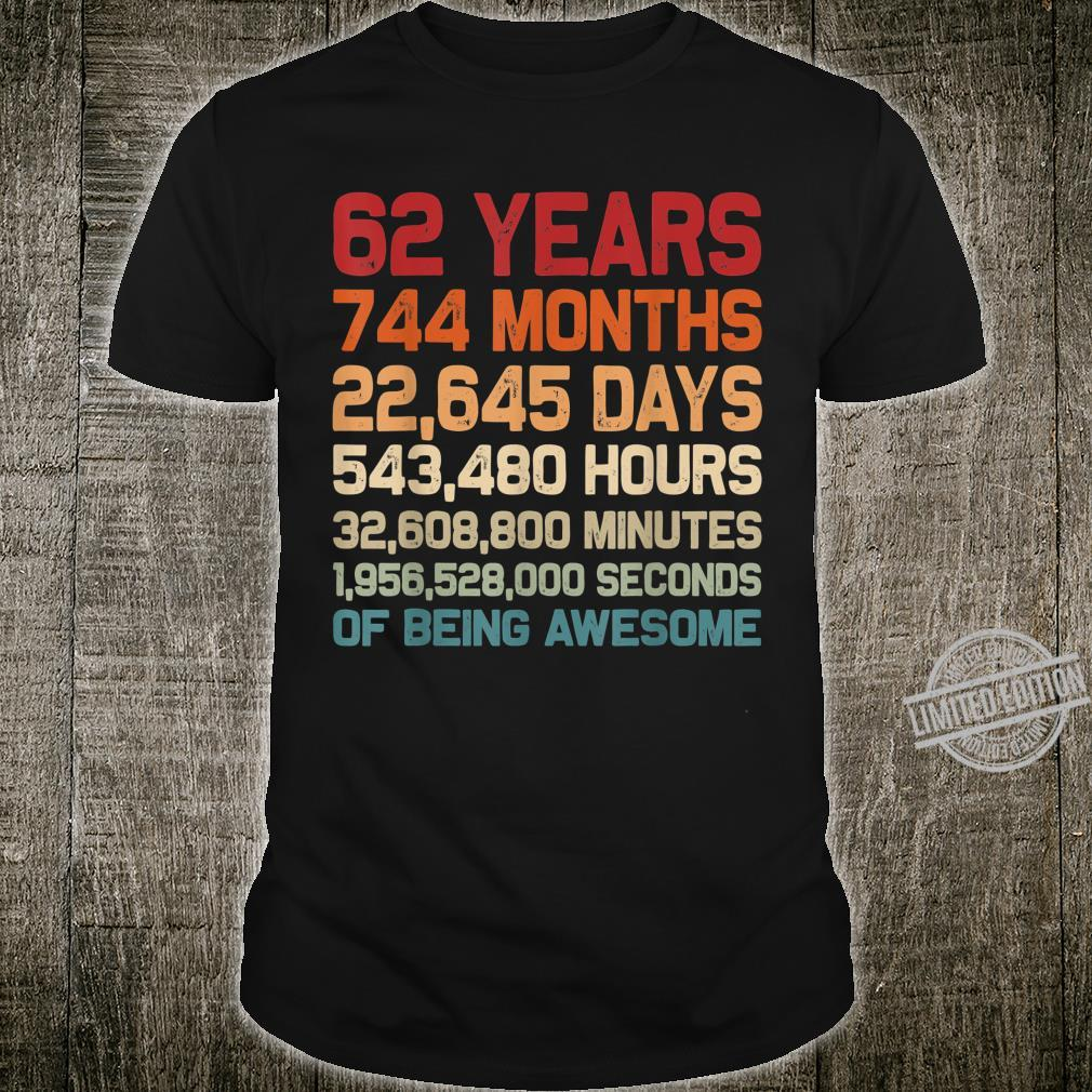 62 Years of Being Awesome Retro Vintage 62nd Birthday Shirt