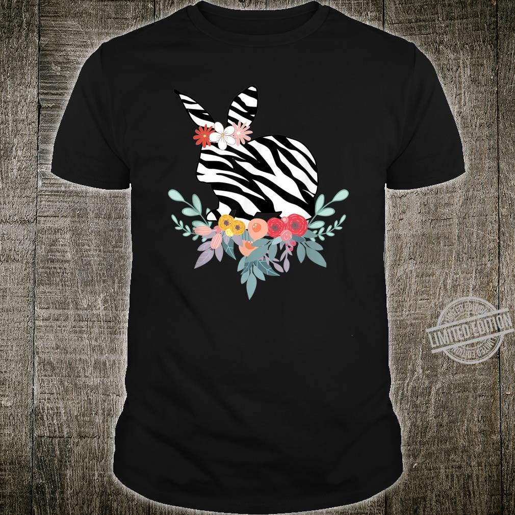 Animal Print Bunny Shirt Zebra Print Floral Art Rabbit Shirt