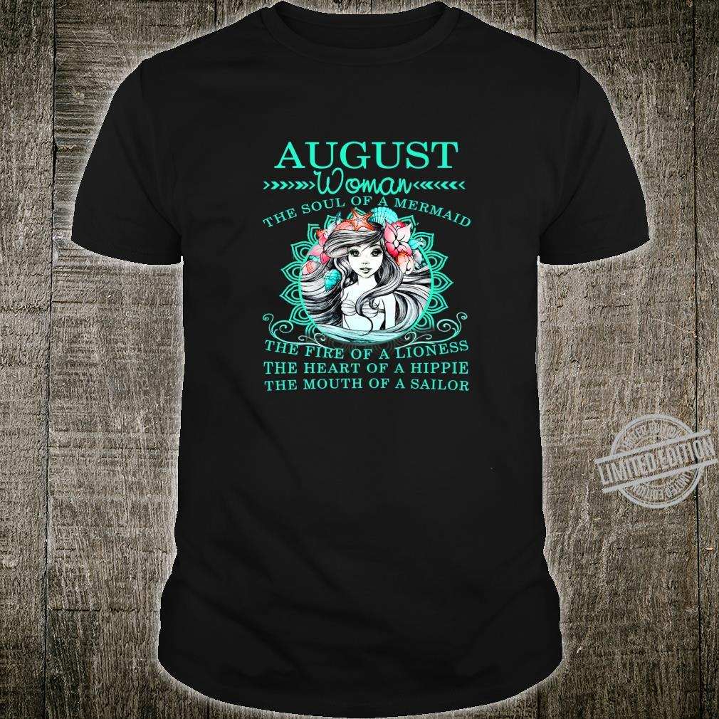 August The Soul Of A Mermaid Birthday Shirt