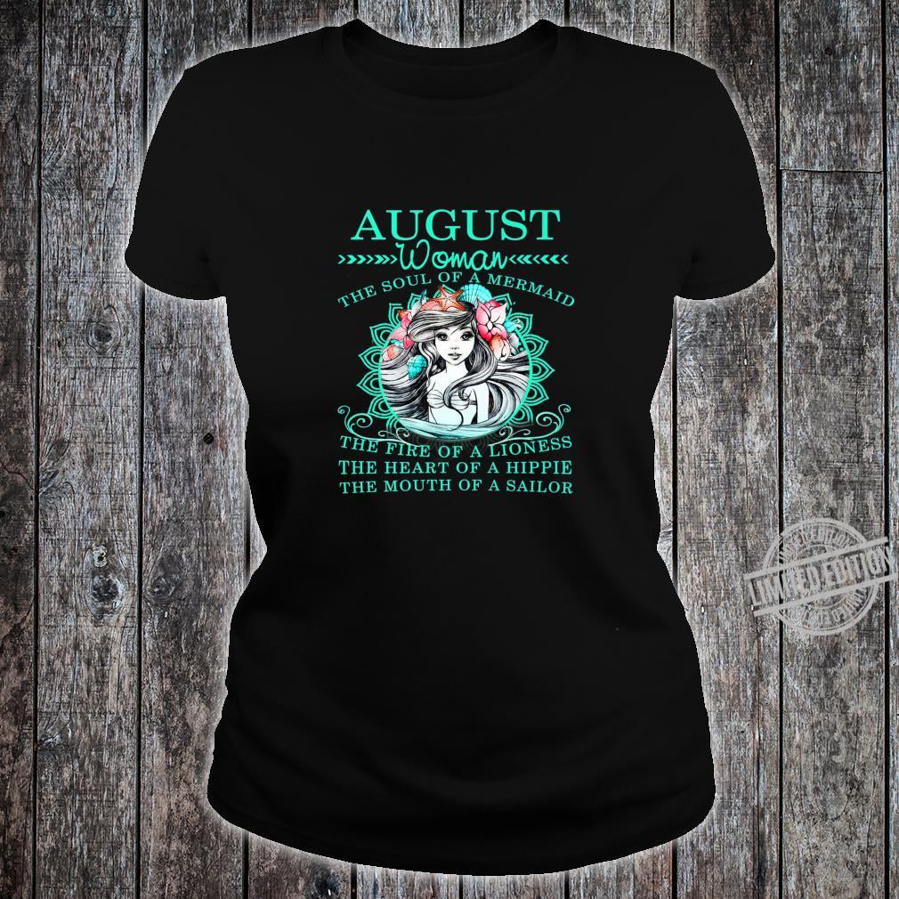 August The Soul Of A Mermaid Birthday Shirt ladies tee