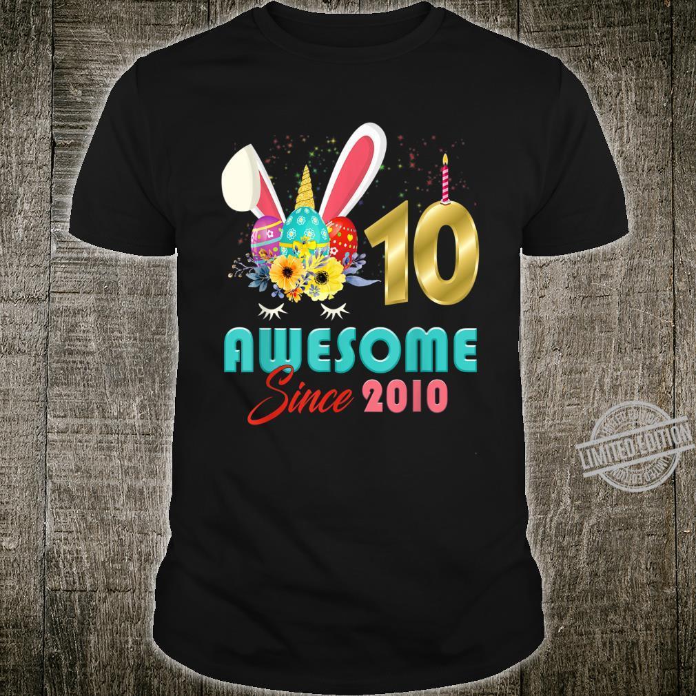 Awesome Since 2010 Bunny Easter Egg Birthday Shirt