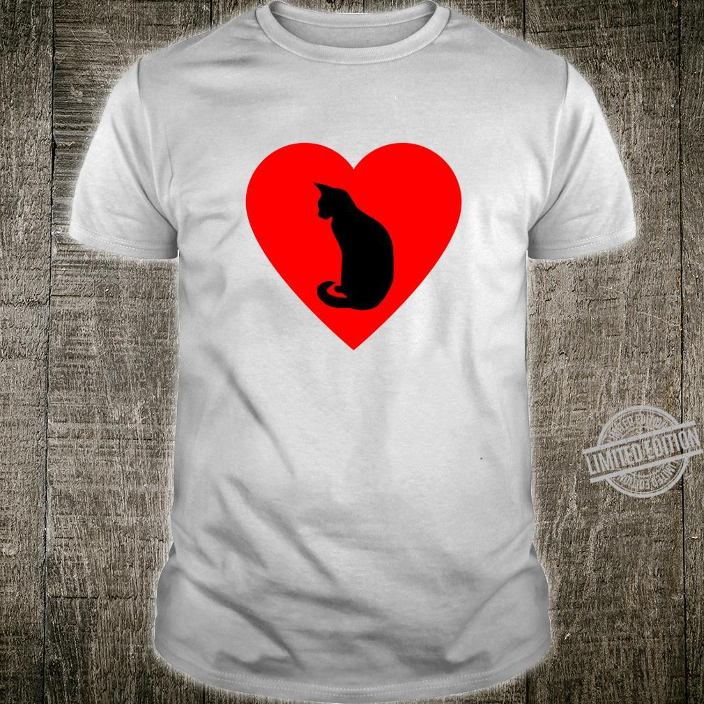 Cat Valentines Day Shirt Graphic Cat On Red Heart Shape Shirt