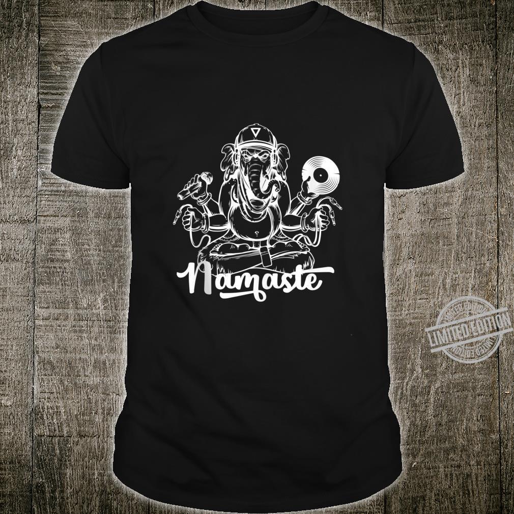 DJ Ganesh Elephant God w Mic & Vinyl Namaste Hip Hop Yoga Shirt