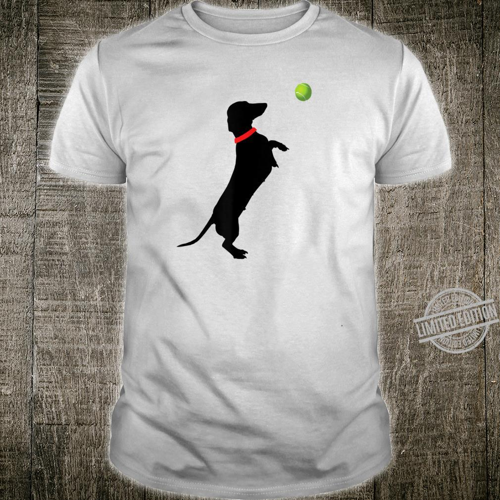Dachshund Dog Jumps for Yellow Tennis Balls Doxie Shirt