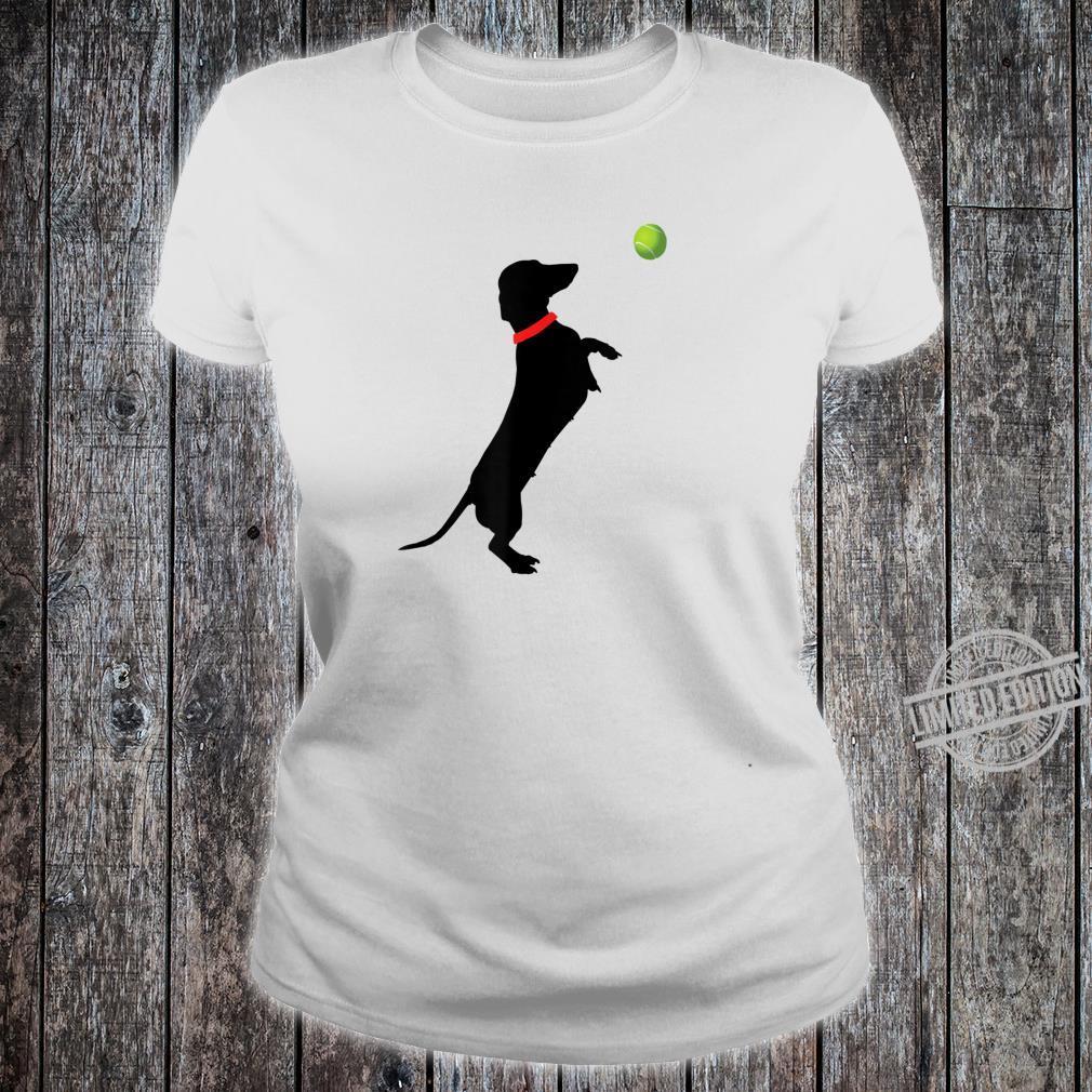 Dachshund Dog Jumps for Yellow Tennis Balls Doxie Shirt ladies tee