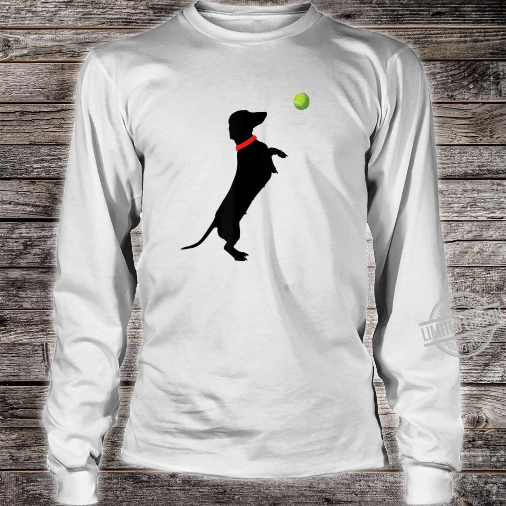 Dachshund Dog Jumps for Yellow Tennis Balls Doxie Shirt long sleeved