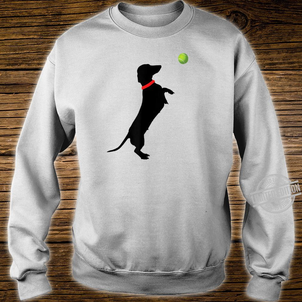 Dachshund Dog Jumps for Yellow Tennis Balls Doxie Shirt sweater