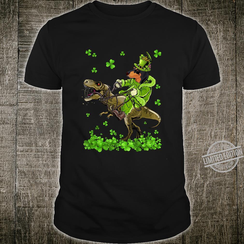 Doberman Riding Dinosaur St Patricks Day Shirt