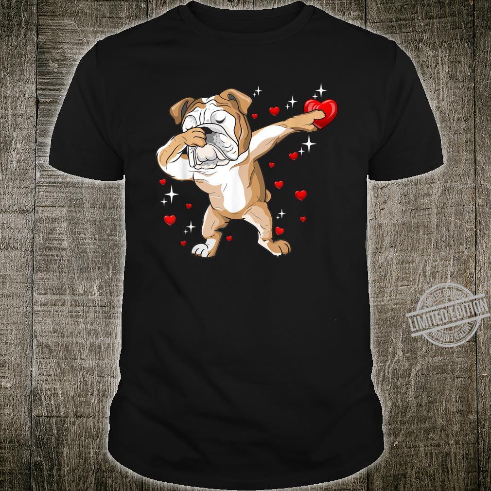 Dog Dabbing English Bulldog Heart Valentines Day Shirt
