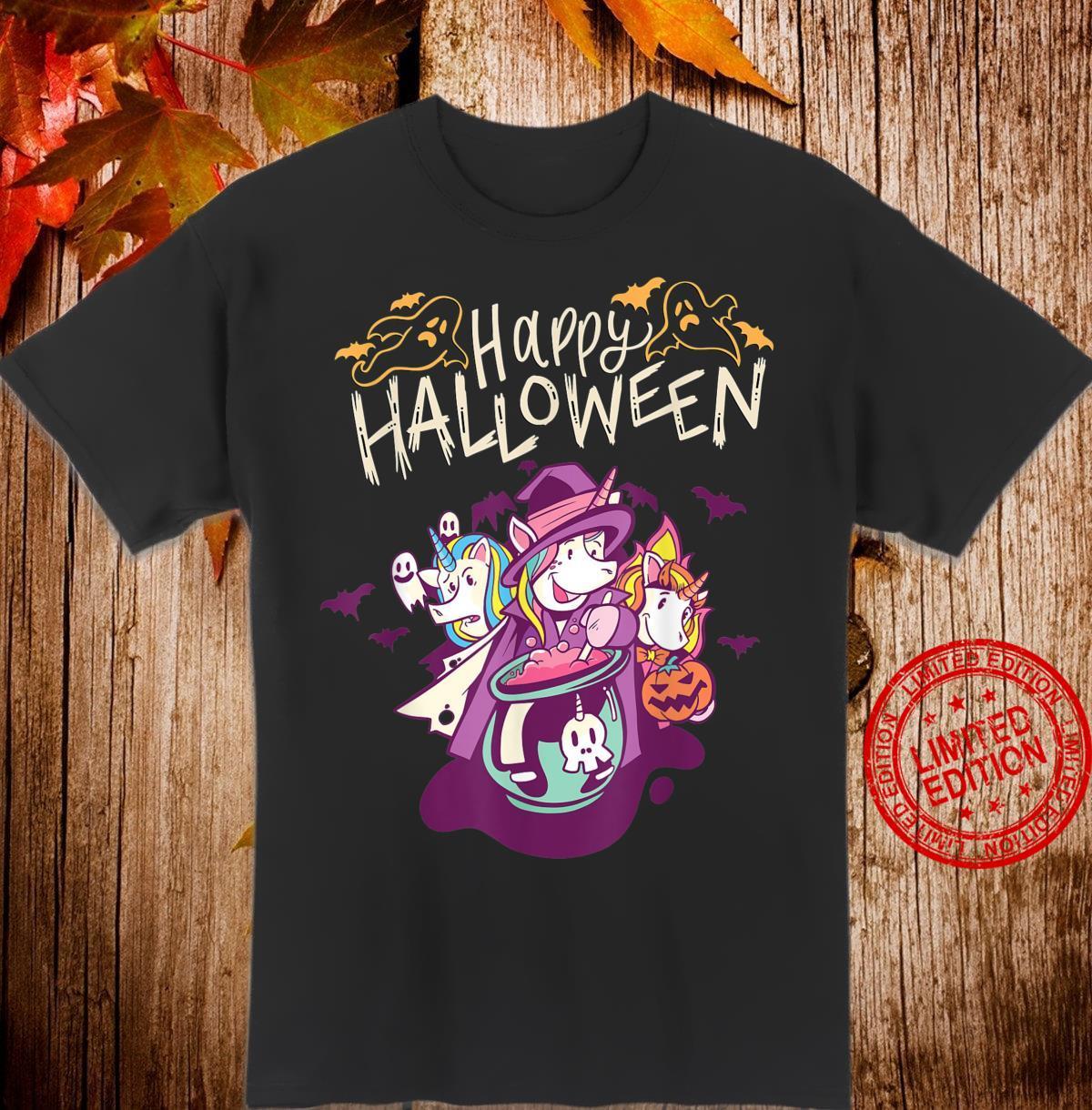 Halloween Unicorn Trick or Treat Saying Shirt