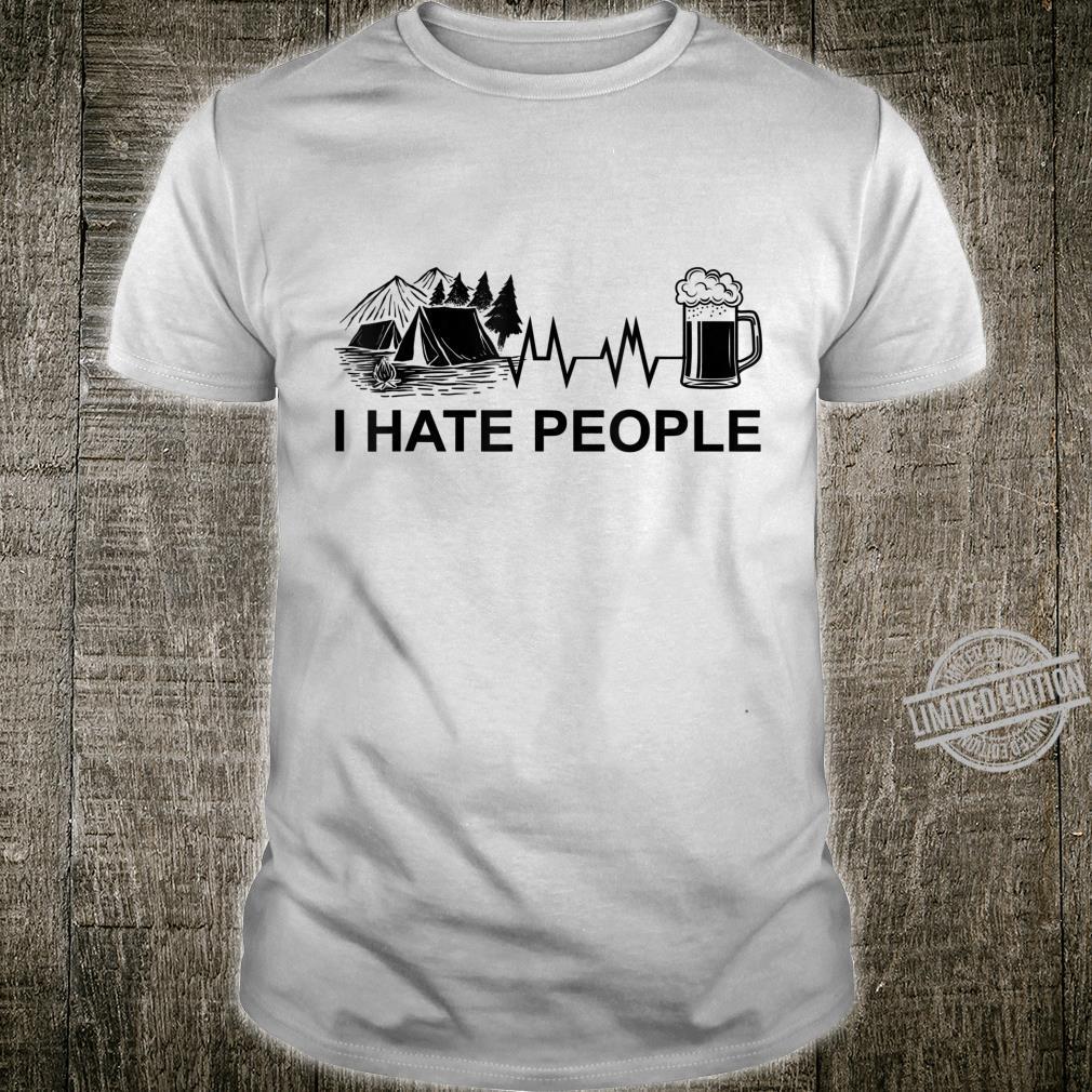 Herren I Hate People Herzschlag Bier Camping Natur Zelten Berge Shirt