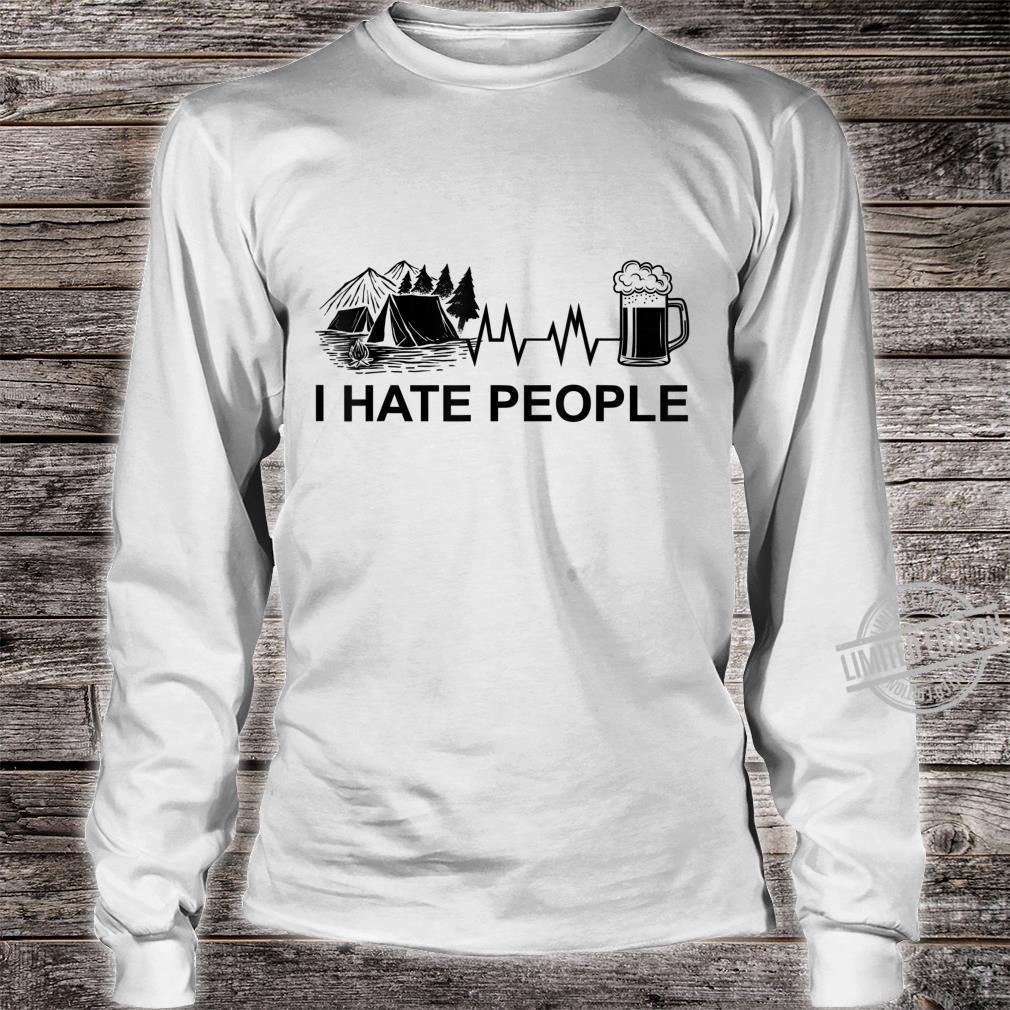 Herren I Hate People Herzschlag Bier Camping Natur Zelten Berge Shirt long sleeved