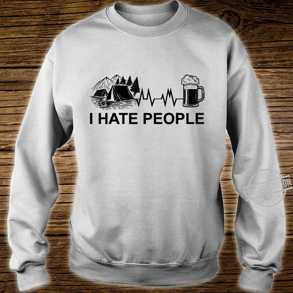 Herren I Hate People Herzschlag Bier Camping Natur Zelten Berge Shirt sweater