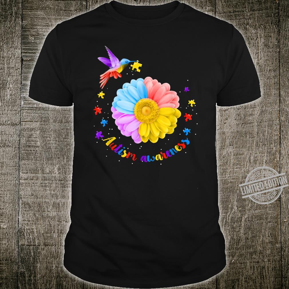 Hummingbird Autism Awareness Day Sunflower Shirt