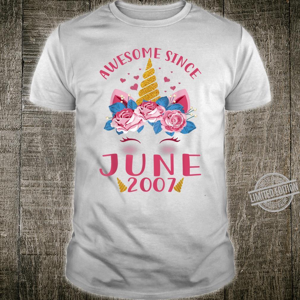 Kids 13th Birthday Girl Unicorn Awesome Since June 2007 Shirt