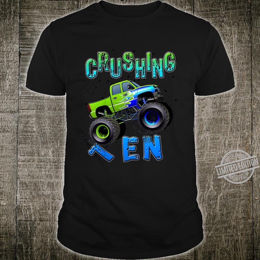 Kids Birthday Boy 10 Years Old Monster Truck 10thTenth Birthday Shirt