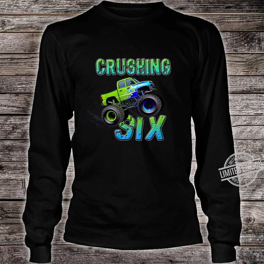 Kids Birthday Boy Age 6 Monster Truck Sixth Bday Six Year Old Shirt long sleeved