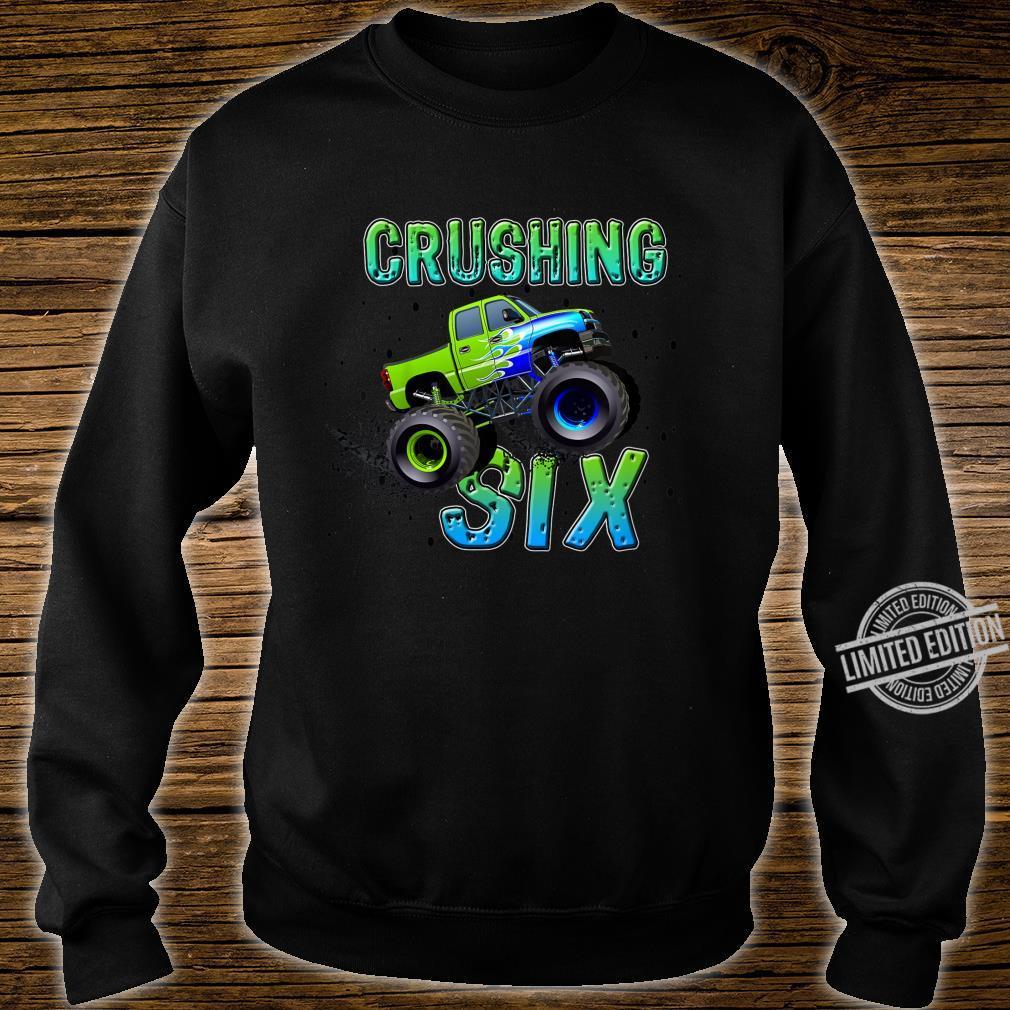 Kids Birthday Boy Age 6 Monster Truck Sixth Bday Six Year Old Shirt sweater
