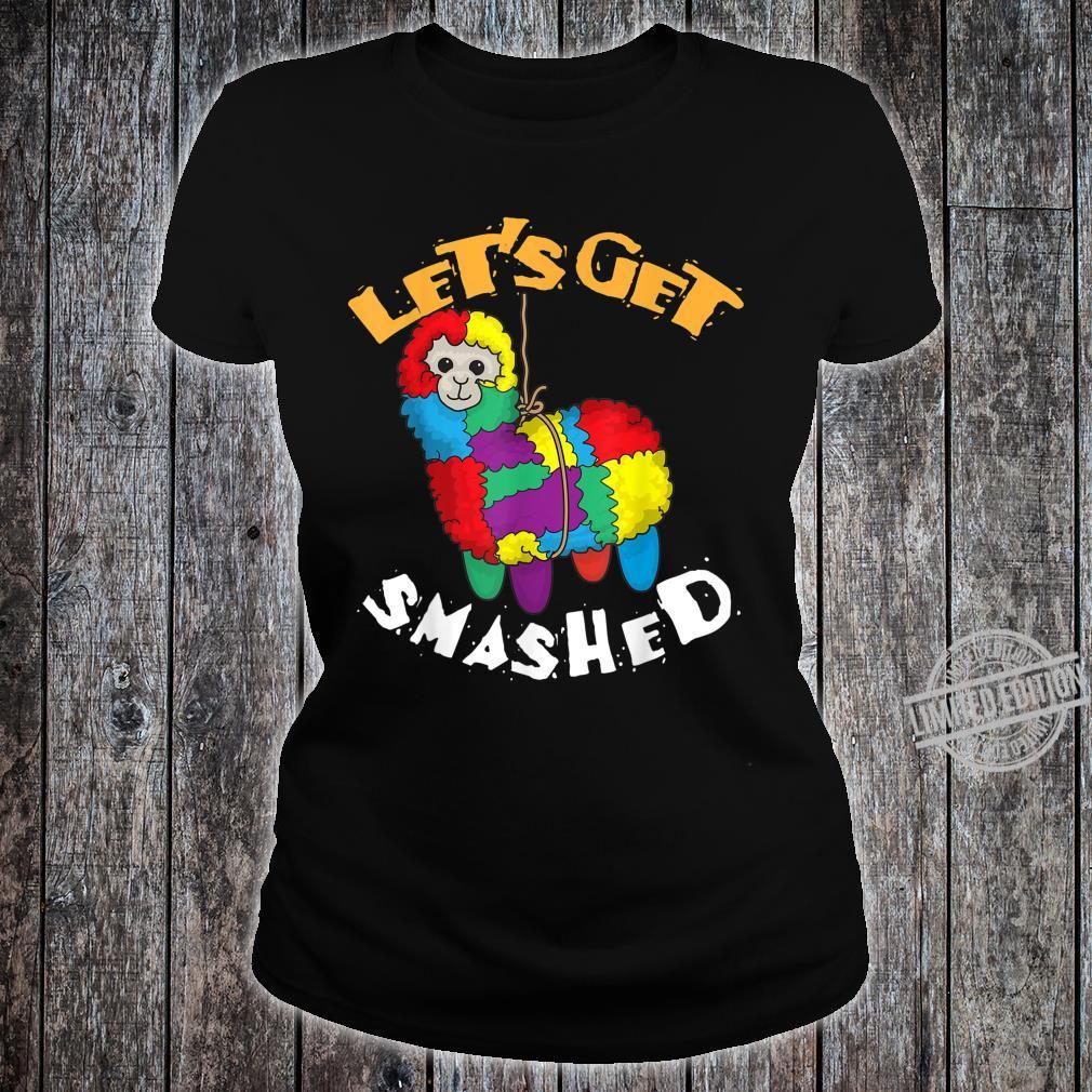 Let's Get Smashed Cool Cinco De Mayo Llama Shirt ladies tee