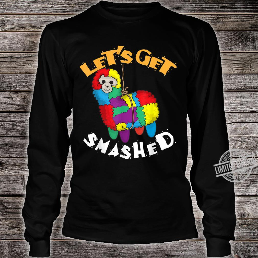 Let's Get Smashed Cool Cinco De Mayo Llama Shirt long sleeved