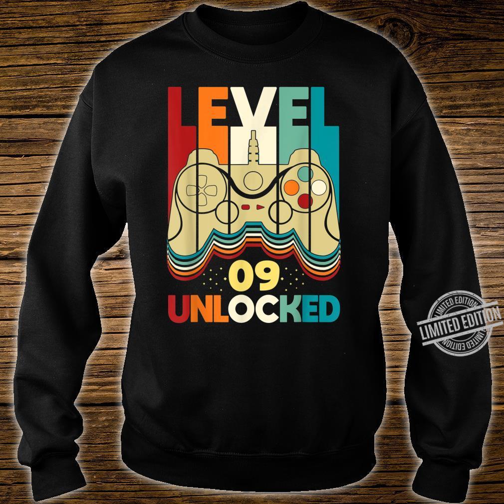 Level 09 Unlocked Shirt Video Gamer 09th Birthday Shirt sweater