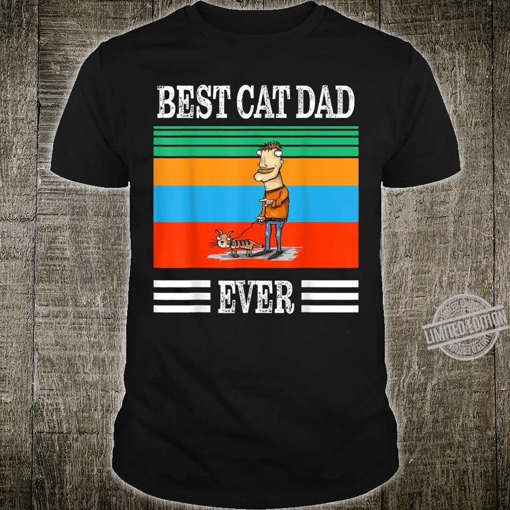 Mens Vintage Best Cat Dad Ever Bump Fit Shirt