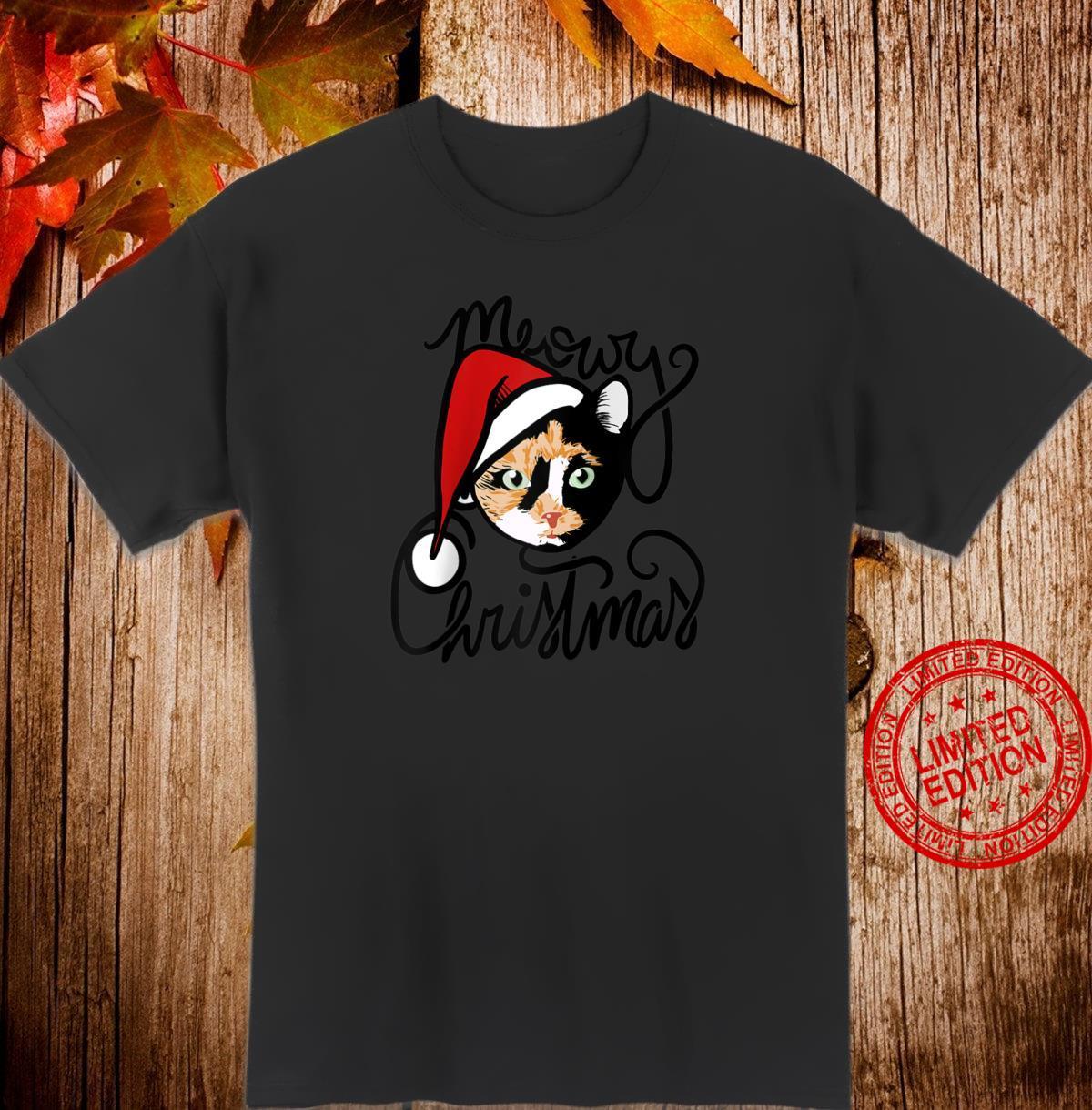 Meowy Christmas Calico Cat Shirt