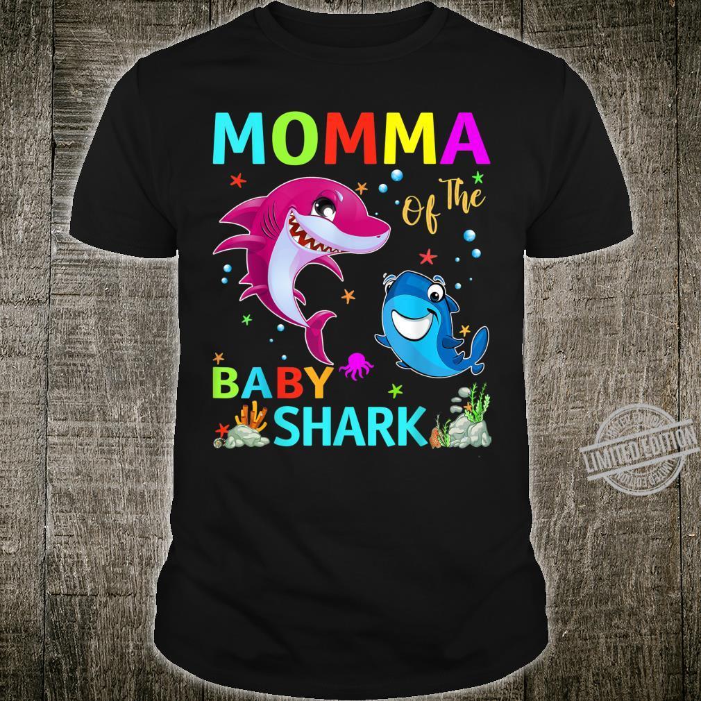 Momma Of The Baby Shark Birthday Momma Shark Shirt