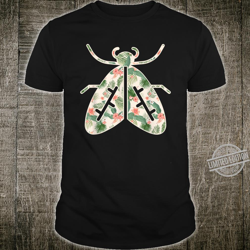 Moth Flower Girl Print Floral Insect Hawaiian Shirt