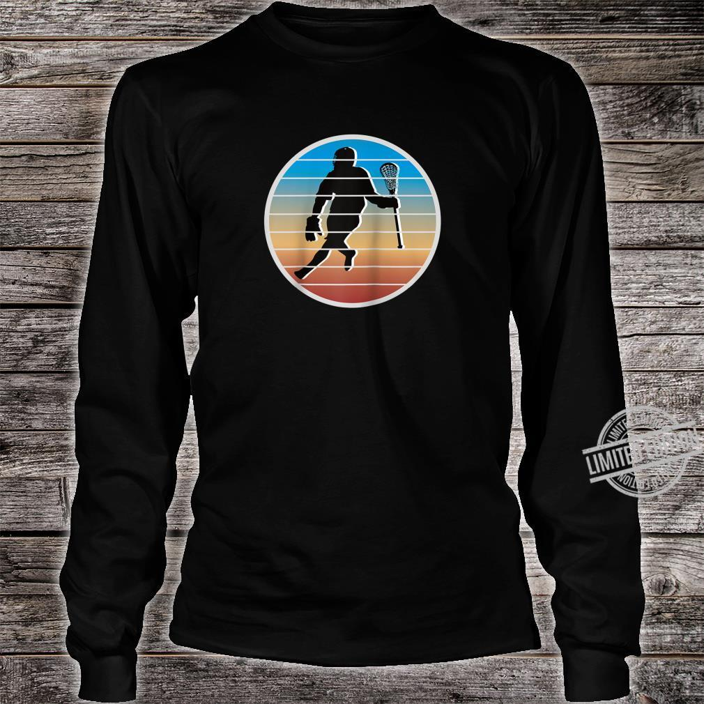 Retro Lacrosse Player fors of Lacrosse Shirt long sleeved