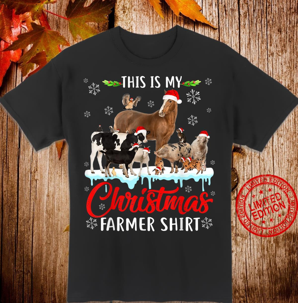 This My Christmas Animal Farmer Santa Hat Light Farm Xmas Shirt