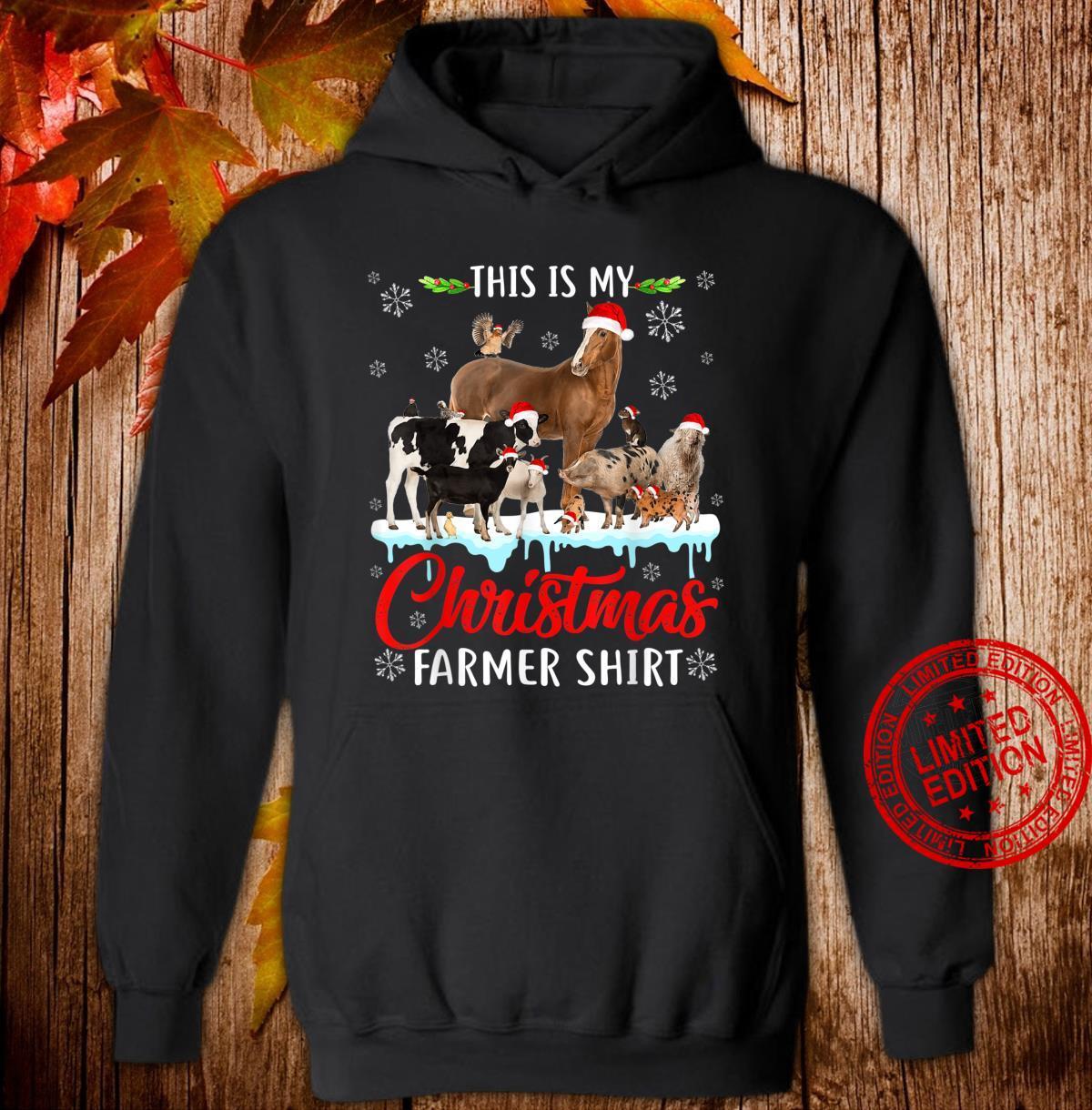This My Christmas Animal Farmer Santa Hat Light Farm Xmas Shirt hoodie