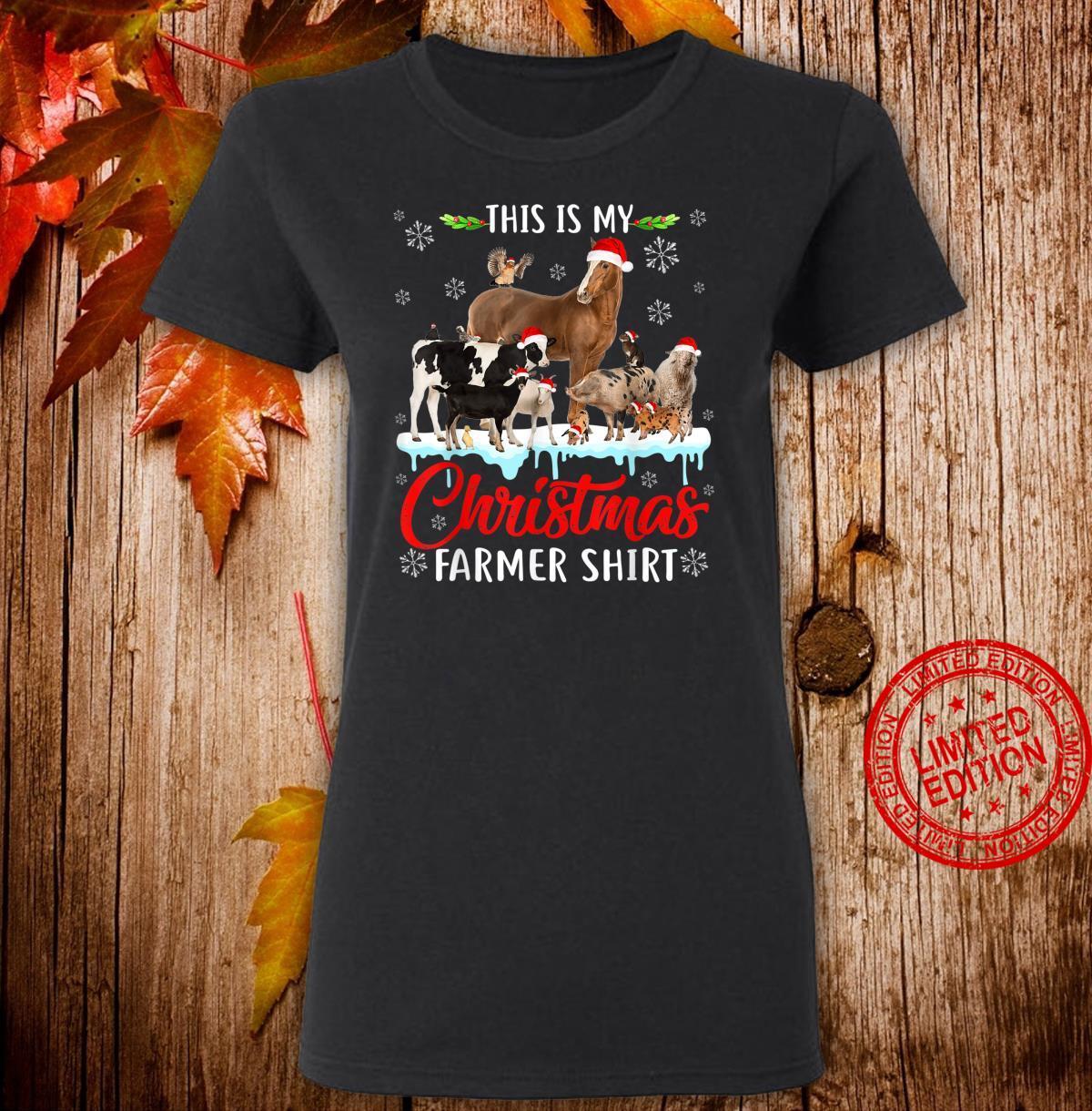 This My Christmas Animal Farmer Santa Hat Light Farm Xmas Shirt ladies tee
