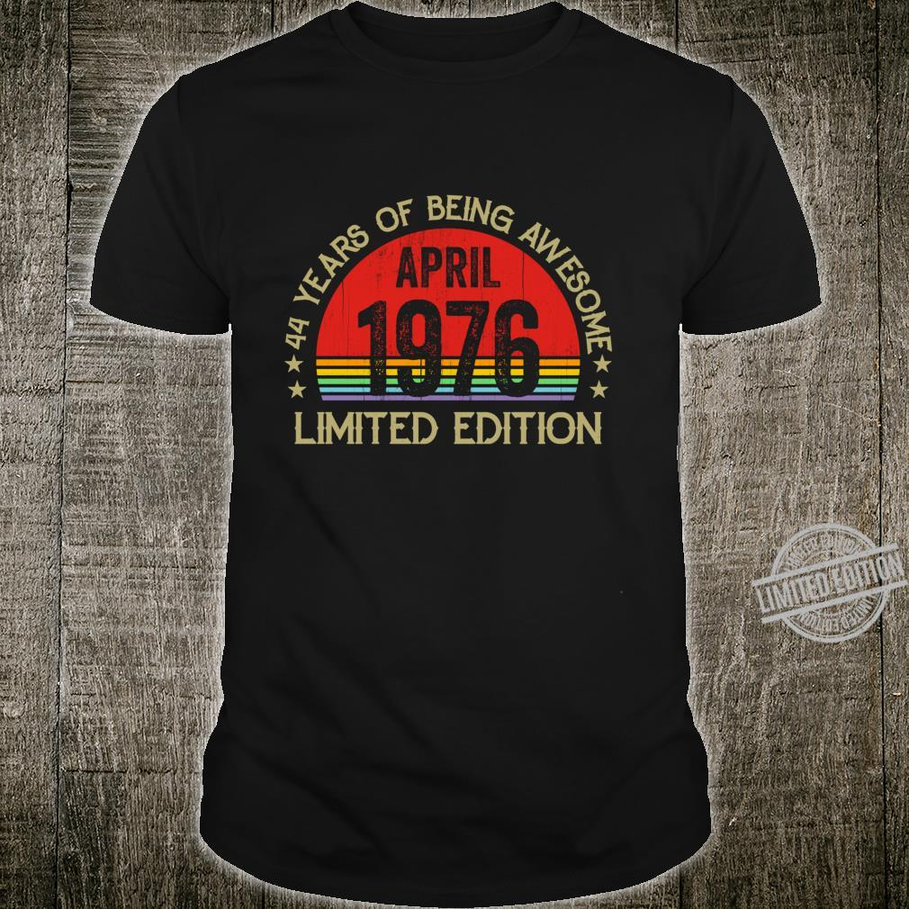 Vintage April 1976 44 Years Of Being Awesome Birthday Shirt