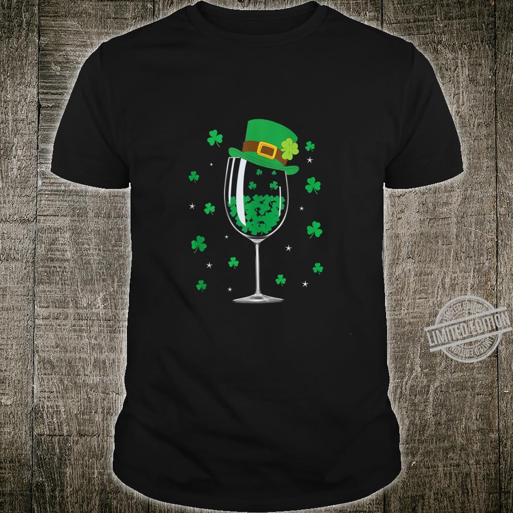 Wine Glasses St Patricks Day Wine Shamrocks Shirt
