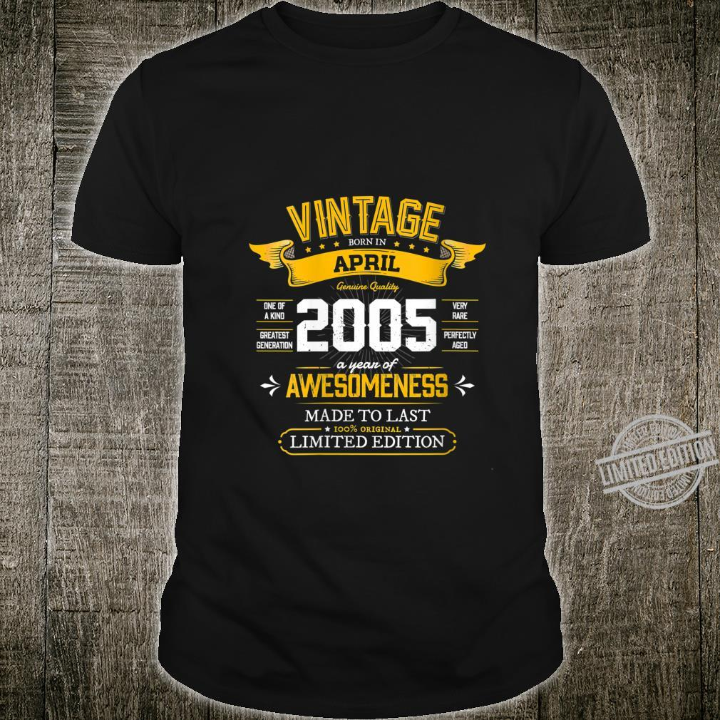 Womens Best of 2005 Vintage 15th Retro April 2005 Birthday Shirt