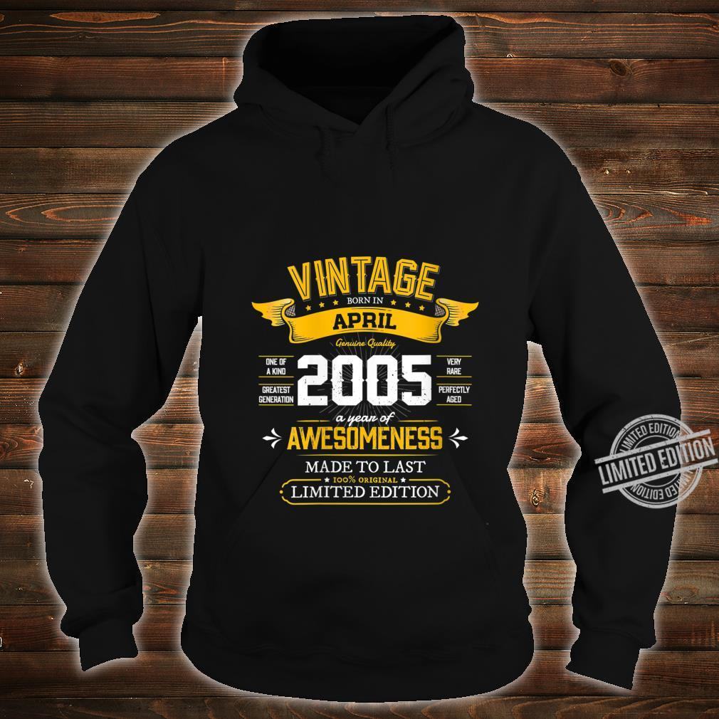 Womens Best of 2005 Vintage 15th Retro April 2005 Birthday Shirt hoodie