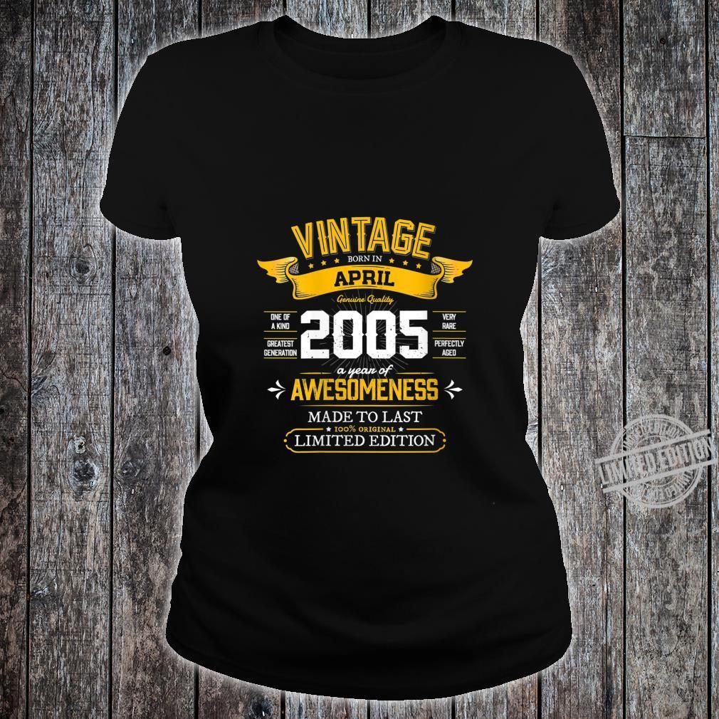 Womens Best of 2005 Vintage 15th Retro April 2005 Birthday Shirt ladies tee