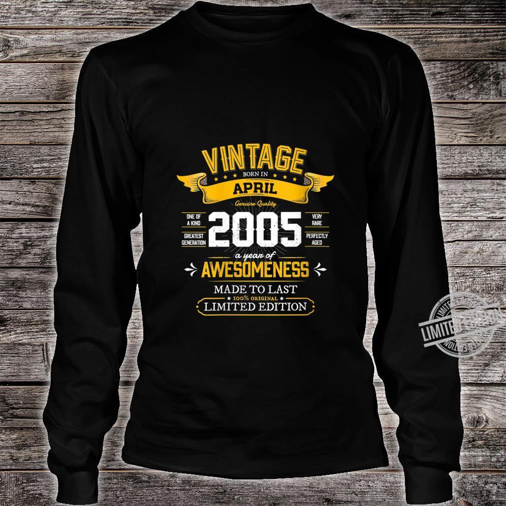 Womens Best of 2005 Vintage 15th Retro April 2005 Birthday Shirt long sleeved