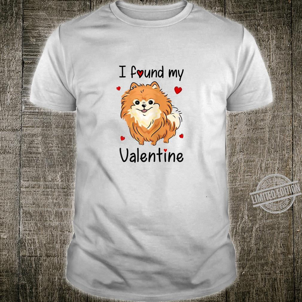 Womens Pomeranian Pom Mom Mama I Found My Valentine Shirt